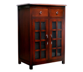 Kahoyan Cabinet 2 Doors Glass & 2 Drawers